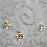 Oak Tree Necklace- Silver/Rose Gold