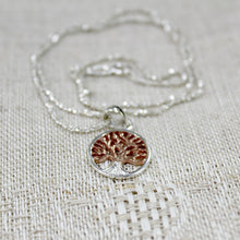 Load image into Gallery viewer, Silver oak tree necklace with rose gold