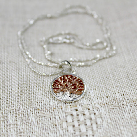 Silver oak tree necklace with rose gold