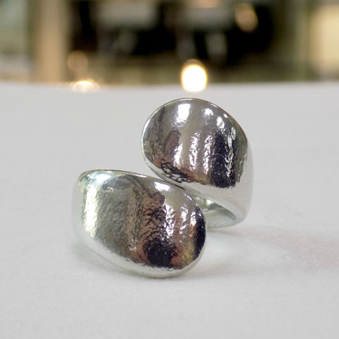 Unusual pewter twist ring for ladies from Reaction