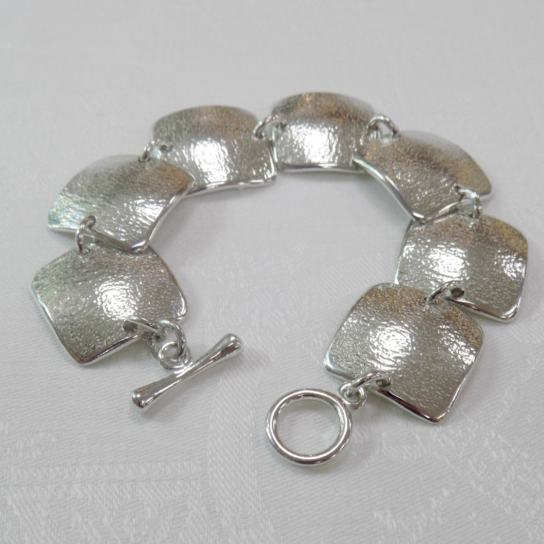 Reaction Pewter Squares Bracelet