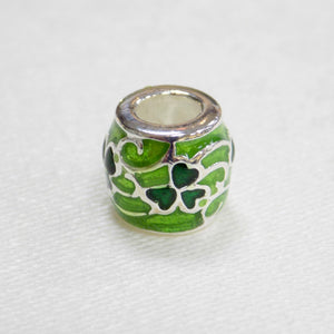 Green Shamrock Pattern Bead Charm