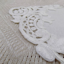 "Load image into Gallery viewer, ""Hearts and Flowers"" Lace Doily."