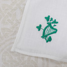 Load image into Gallery viewer, Irish Linen Handkerchief with Embroidered Harp