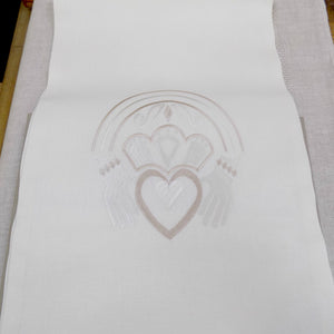 Irish linen runner with gold claddagh design