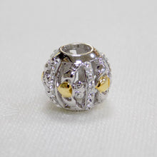 Load image into Gallery viewer, Silver & White Swarovski Crystal Claddagh Bead