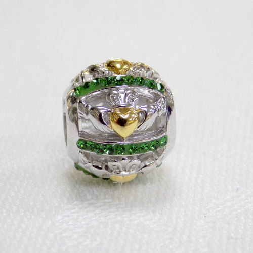 Claddagh bead charm with Swarovski crystal