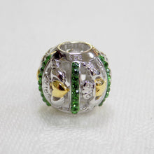 Load image into Gallery viewer, Silver & Green Swarovski Claddagh Bead