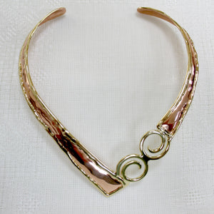 Grange Two Tone Celtic Spiral Torc Necklace