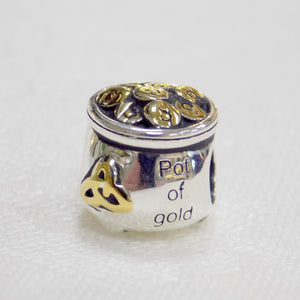 Pot of Gold Bead Charm 14ct Gold Plate