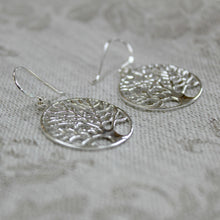 Load image into Gallery viewer, Silver Tree Drop Earrings