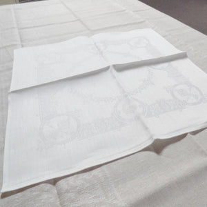 pattern of white Irish linen napkins in Celtic pattern