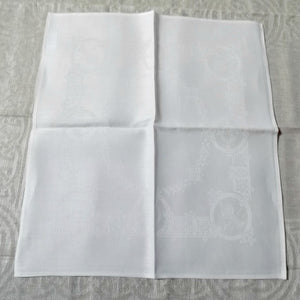 "Damask Irish Linen Napkin - ""Celtic"", White"