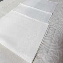 "Load image into Gallery viewer, Damask Irish Linen Placemat - ""Colmcille"", White"