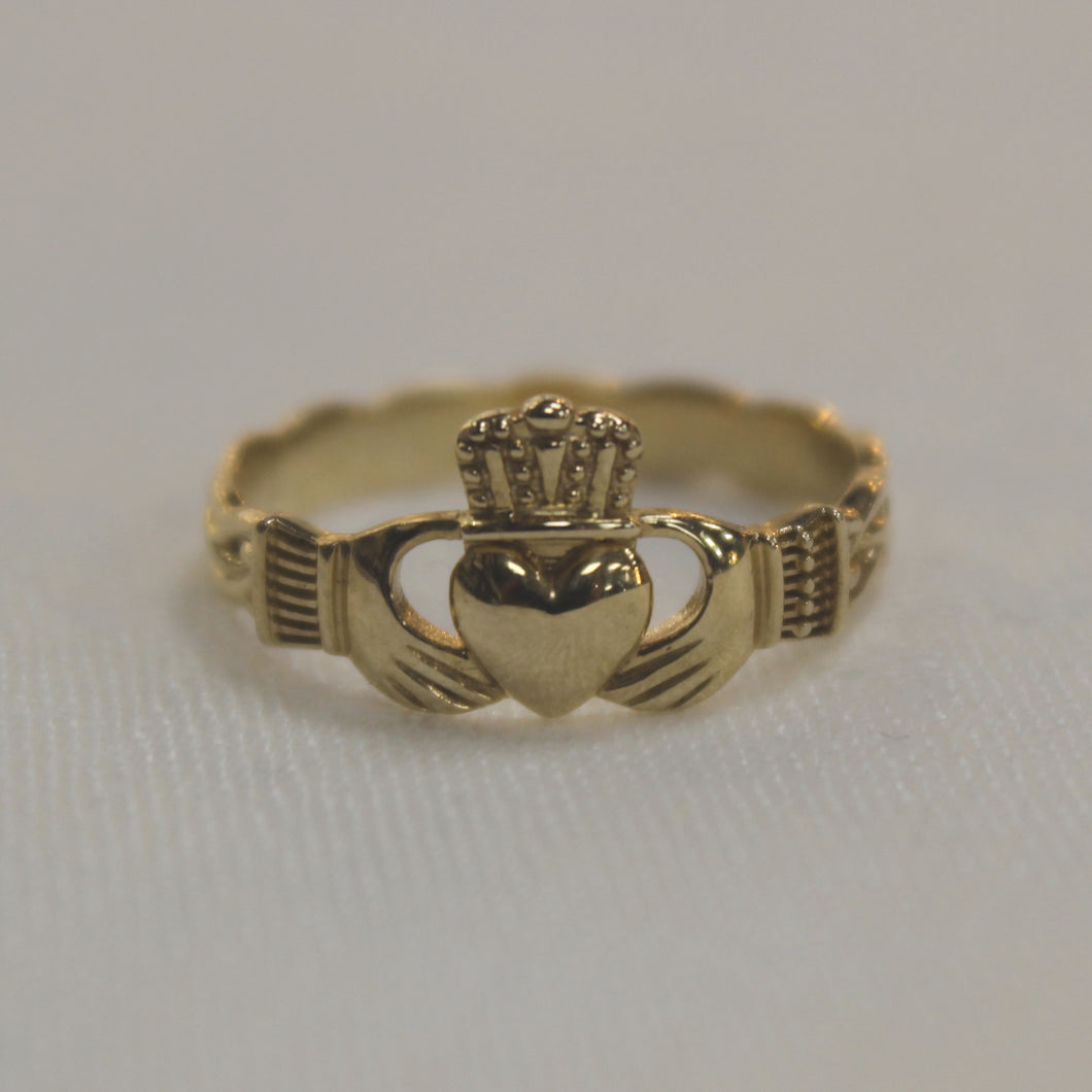 Gold Claddagh Ring with Celtic Weave Band