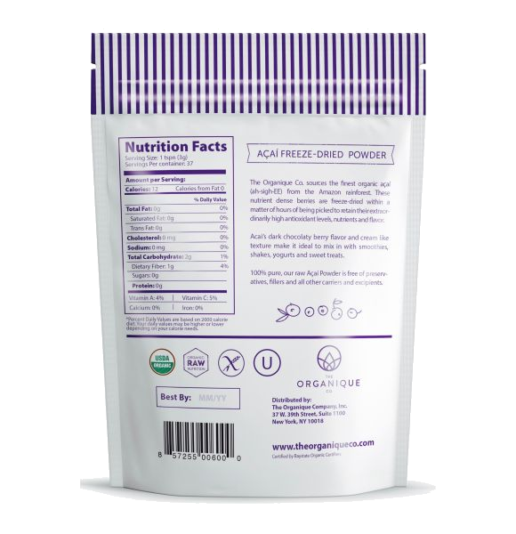 Acai Berry Powder Superfood sold by the Organique Co.