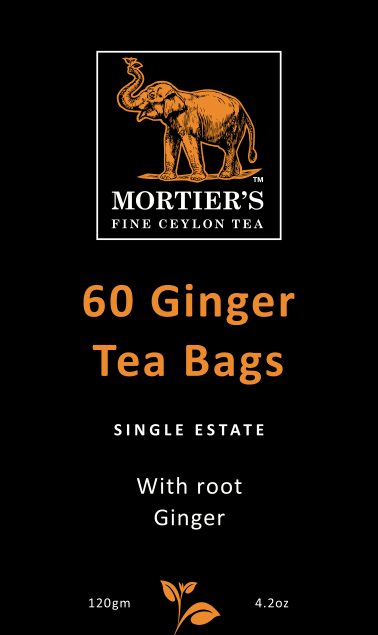 60 GINGER TEA BAGS, PURE CEYLON TEA WITH ROOT GINGER