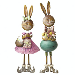 Free standing girl and boy rabbit ornament