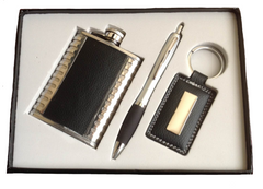 Hip flask, pen & key ring set
