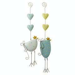 Hanging metal chickens