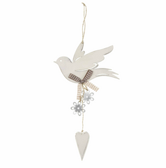 Neutral Dove Hanger with metal flowers, Shabby Chic