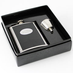 Personalised hip flask leather and steel
