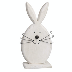 Standing wooden rabbit head