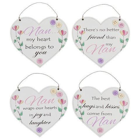 Nan Floral Hanging Hearts - 4 different sayings to choose from