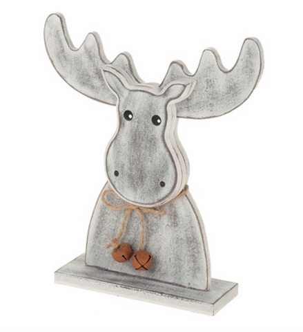 Antique Grey, Wooden Deer with Bells