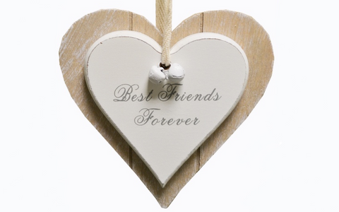 Best Friends Forever, double hanging heart