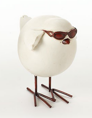 White bird with shades on