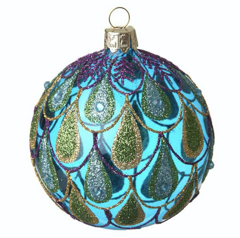 Blue Glass Peacock Bauble
