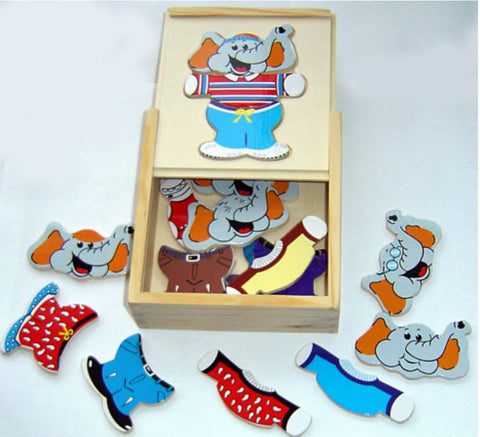 Wooden, Boxed Elephant Puzzle with Clothes