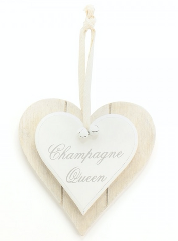 Champagne Queen, double heart plaque