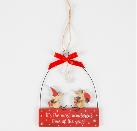 Christmas Mice, with metal hanger, holding presents