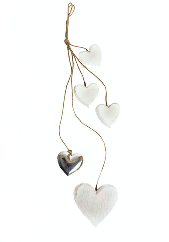 Shabby Chic Wooden Hanging Hearts And Stars