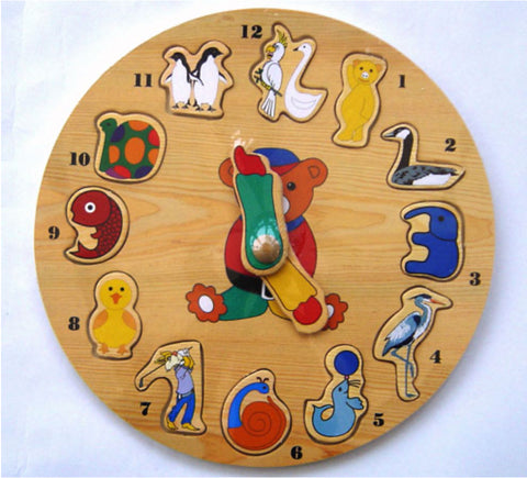 Clock, colourful wooden jigsaw puzzle