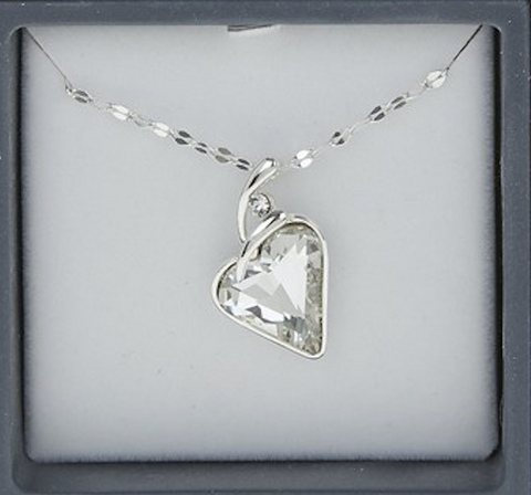 Equillibrium Silver Plate Crystal Heart Necklace, close up