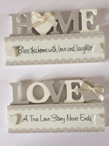Cut-out Home / Love freestanding plaque