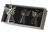 Engraved Glass Angels with Bells - Set of 3 boxed