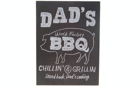 Dad's World Factory BBQ, blackboard style, sign