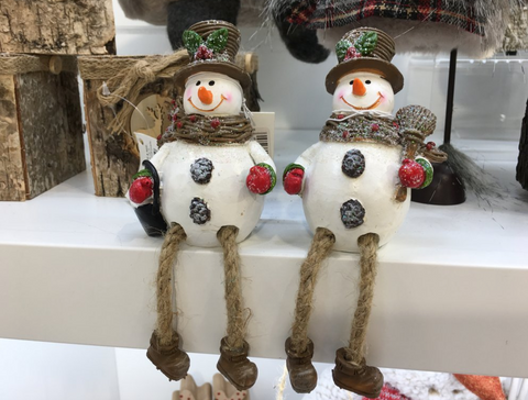 Resin Snowmen with Dangly Legs, Shelf Sitters