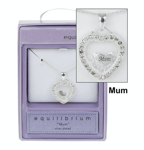 Equilibrium, Crystal Filled Heart Mum Necklace