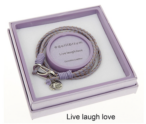 Equilibrium, Leather Charm Message Bracelet, Live Laugh Love