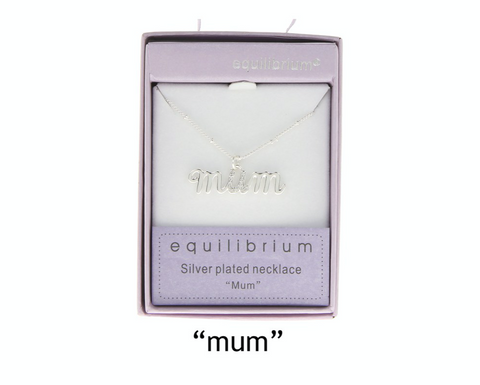 Equilibrium, silver plated word necklace, mum