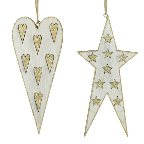 Shabby Chic, Hanging Heart and Star, Tree decorations