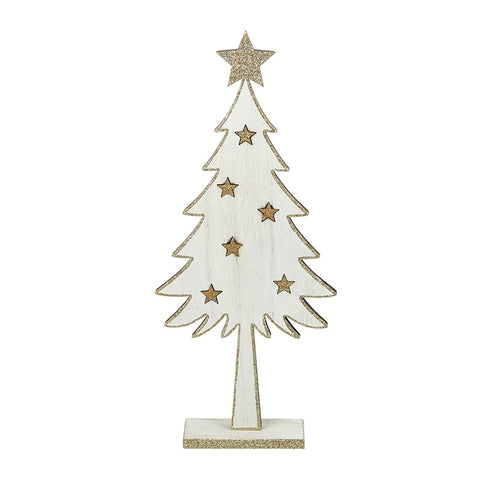 Shabby Chic, Wooden Tree decorated with gold glitter stars