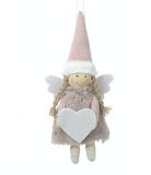 Fabric Hanging Pink Angel with silver heart