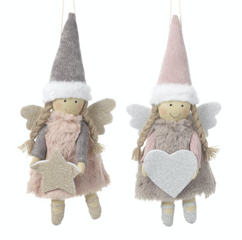 Fabric Hanging Pink Angels with Heart and Star