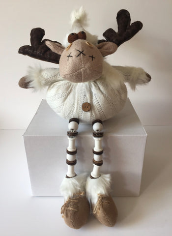 Fabric Sitting Moose with bendy legs